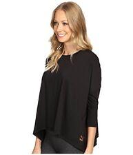 NWT $45 PUMA Women's Evo Long Sleeve Black Loose Flare Active Top w/Gold Logo L
