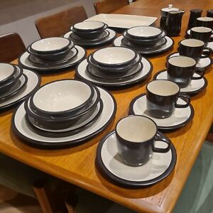 Complete Mikasa Terra Stone 6 Place Dinner Set 41 Piece Vintage Mid Century.