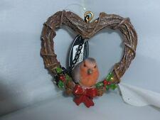BRAND NEW HANGING ROBIN RATTAN HEART CHRISTMAS GARDEN ORNAMENT
