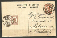 FINLAND. 1927. UPRATED 1M CARD. KUOPIO TO NETHERLANDS