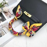 Floral Pattern Yellow Silk Twilly Scarf Ribbon Bowtie Handbag purse handle Wrap