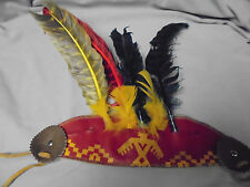 "Vintage Indiana Head Band Toy Dress Up Costume Real Feathers 11.5"" Long 11"" Tall"