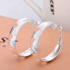 Silver Jewelry Earrings Printed Flower Earrings Polished Earrings EH27
