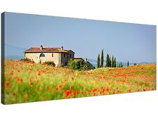 Tuscan Red Poppy Fields Scenes Canvas Art - Landscape Pictures of Tuscany Italy