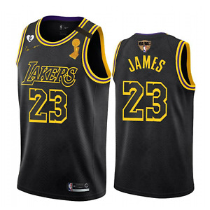 Men's Los Angeles Lakers LeBron James #23 black Finals Champion jersey All Size