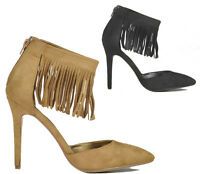 Ladies High Heel Fringe Tassel Pointed Toe Stiletto Court Faux Suede Shoes Size