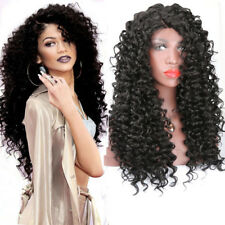 "Women Curly Black Hair Wig Synthetic Lace Front Wigs Natural Looking Wigs 24"",pr"