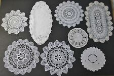 Lot 9 Pcs Small Doilies or Mats Crochet & Embroidery Rounds & Ovals