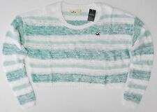 New Hollister Abercrombie Point Dume Green Stripe Sweater Womens Size Large