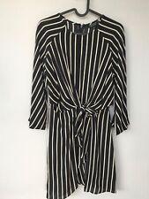 Top Shop Pinstripe Wrap Dress Black Size 8