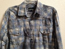 Men's FOREIGN EXCHANGE Long Sleeve Shirt Snap Front Size Large Western Hispter