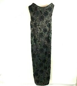 Lillie Rubin Beaded Formal Vintage dress 10 Gold Black strapless Gown full long