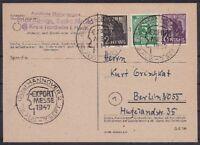 Alliierte Besetzung Mi Nr. 915, 943, 944 MiF Karte SST Hannover Exportmesse 1947
