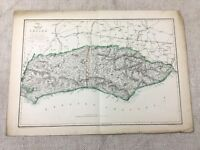 Antique Map Sussex County England East West 19th Century Old Hand Coloured