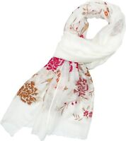 New A New Day Womens Floral Fringe Scarf White One Size
