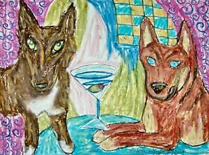 Native American Indian Dog with a Martini 13x19 ART PRINT of PAINTING BY KSams