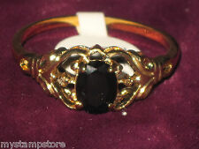 WOMENS GENUINE BLACK ONYX DIAMOND GOLD RING SZ 6 NEW