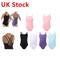 UK Girls Kid Gymnastics Ballet Dance Leotards Spaghetti Strap Jumpsuit Dancewear