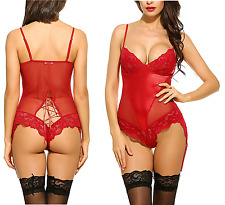 Womens Plus Size Red Lace Satin Teddy Leotard 12 14 16 18 20 22 24 26 28