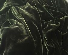 "Silk VELVET Fabric DARK OLIVE GREEN by the yard 45"""