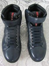 WOMENS PRADA NAVY BLUE LEATHER HIGH TOP SNEAKER MENS SIZE 5 WOMENS 9 BOOTIES