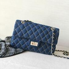 Quilted Denim Medium Flap Shoulder Bag Crossbody Bag Chain Purse Envelope