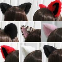Cute Cosplay Party Headband Orecchiette Cat Fox Long Fur Ears Anime W2YN