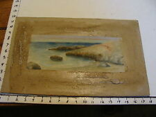 ART--1800's water color landscape by Elizabeth F Merrill-SHORE SCEEN NICE LIGHT