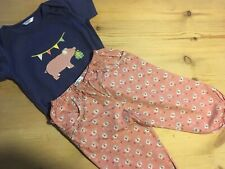 Mini Boden baby girls blue pig appliqué top & pink floral bloomers age 18-24 VGC