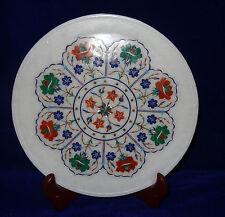 "10"" White Marble Plate Malachite Carnelian Floral Inlay Dinnerware & Serveware"