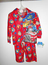NEW Paw Patrol Little Boys Flannel Coat Style Pajamas Red Size 2T