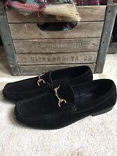 GUCCI men's black bit loafers suede w/gold tone bit sz 10 D / US 10.5 10 1/2 D