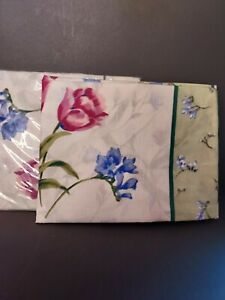 2 NEW Standard Size Cotton/Poly Blue/Pink Floral  Pillowcases NOS