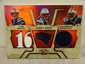 2008 Topps Triple Threads Tom Brady/Randy Moss/Laurence Maroney Triple Relic