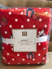 Pottery Barn Teen Grinch Festive Flannel Queen Sheet Set New Christmas Holiday