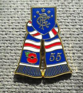 RANGERS - 55th LEAGUE TITLE & POPPY SCARF BADGE - GLASGOW - SCOTLAND- ULSTER - B