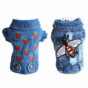 Pet Dog Denim Jacket Vest Housefly Strawberry Embroidery Puppy Cat Jeans Clothes
