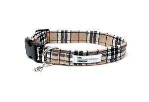 Beige Tartan Dog Collar, Cream Tartan, Dog Collar, Adjustable Collar