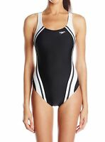 Speedo Women Black White Size 10 Splice Powerflex Eco One-Piece Swimsuit $78 292
