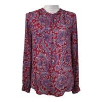 Lucky Brand Womens Top Button Up Long Sleeve Paisley Blouse Ladies Shirt Size XS