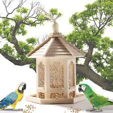 Hanging Bird Feeder Wild Bird Novelty Feeding House White Wooden Gazebo Garden!