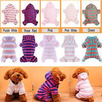 Puppy Dog Pet Soft Fleece Stripes Hoodie Coat Jumpsuit Winter Apparel Clothes