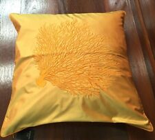 JIM THOMPSON THAI SILK CUSHION COVER EMBROIDERY GOLD CORAL ON YELLOW SILK 18""