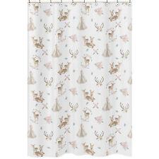 Bathroom Fabric Bath Shower Curtain Blush Pink Mint Green Woodland Deer Floral