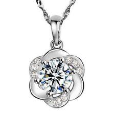075 Wasser-Wellen-Halskette mit Anhänger Pflaume Blume 925 Silber Zirkonia Neu