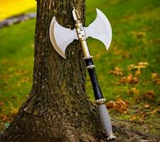 "21"" DOUBLE SIDED FANTASY BATTLE AXE/HATCHET STEEL WIRE WRAPPED HANDLE + DISPLAY"