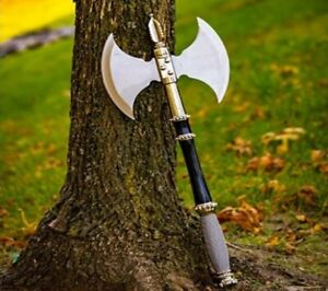 """21"""" DOUBLE SIDED FANTASY BATTLE AXE/HATCHET STEEL WIRE WRAPPED HANDLE + DISPLAY"""