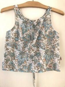Piccolina Girls Top Sz 8 Cotton Blue Floral Tank with Tie Back EUC