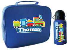 Personalised Kids Blue Lunch Bag and Drink Bottle Pack for School