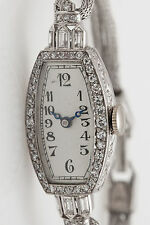 Antique 1920s $6000 1.50ct VS G Diamond Baguette CONCORD Ladies Platinum Watch
